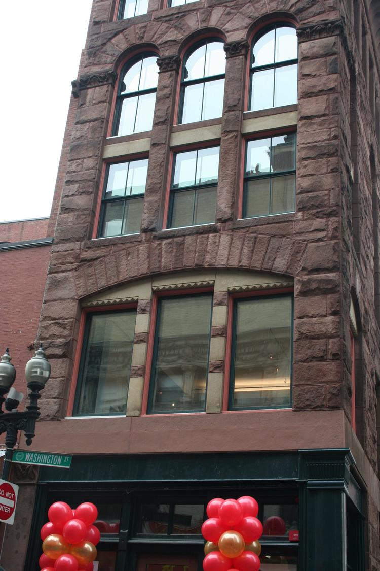 The restored Hayden building on lower Washington Street at the edge of Chinatown in Boston.