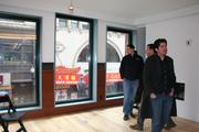 The view of Washington Street from the living room of the 930-square-foot apartment at the Hayden building.