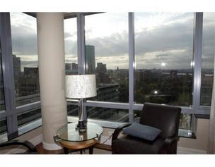 The living room overlooking Boston at the condo pitcher Josh Beckett sold.