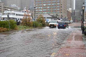 Long Wharf in Boston flooded during Hurricane Sandy.