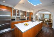 The chef's kitchen at a contemporary style home at 132 Yarmouth Rd. in Brookline.