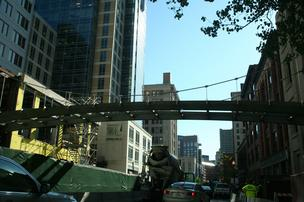 Liberty Mutual employee bridge under construction in Boston's Back Bay.