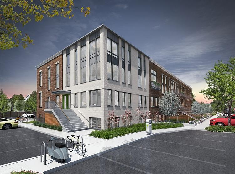 The Wyeth, a 44-unit luxury apartment building on Rindge Avenue in Cambridge, is set to open this fall.