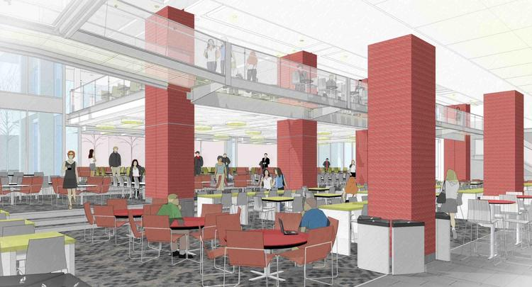 Rendering of Northeastern University's Curry Student Center.