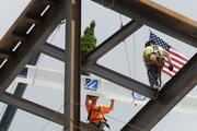 Topping off at the new student center at the University of Massachusetts/Lowell.