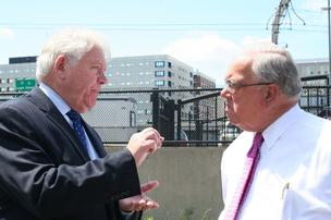Developer John Drew and Mayor Thomas M. Menino before the groundbreaking at Waterside Place in Boston's Seaport.