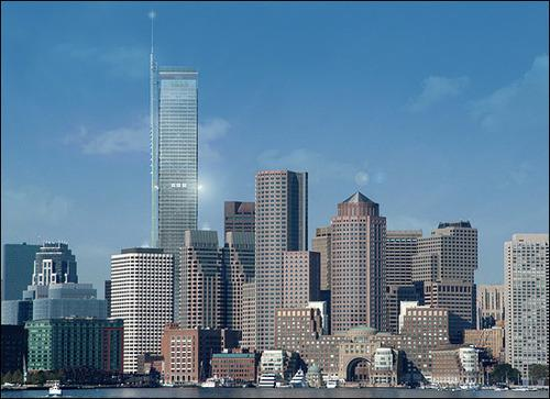 Rendering of the original proposal for a 1,000-foot tower in Boston's Financial District.