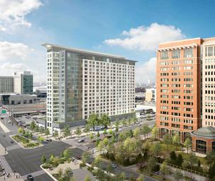 Rendering of Waterside Place in Boston's Seaport District.