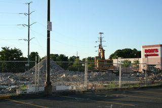Construction crews have demolished the former Big Papi's Grille in Framingham to make way for an Outback Steakhouse.