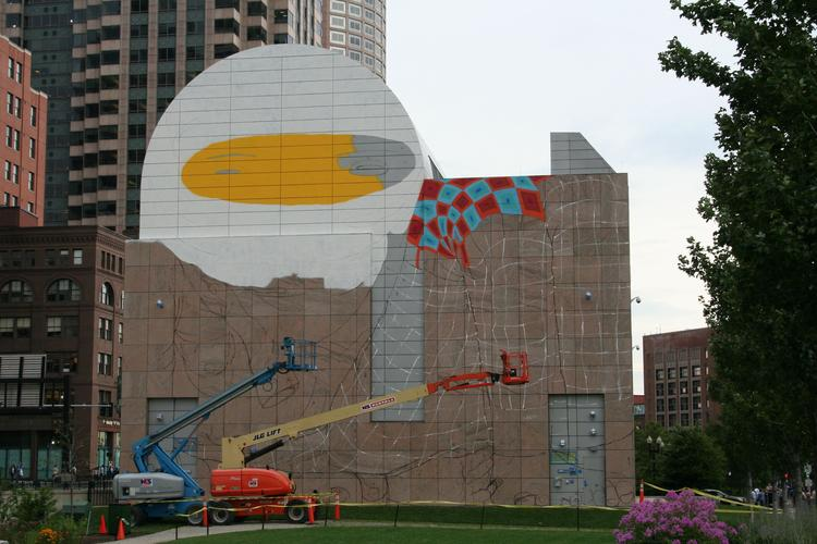 Brazilian artists Os Gemeos are creating a 70' x 70' temporary mural overlooking the Rose Fitzgerald Kennedy Greenway.