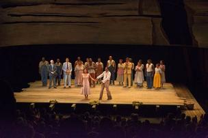 The Loeb Drama Center at the curtain call of the Gershwins' Porgy and Bess.