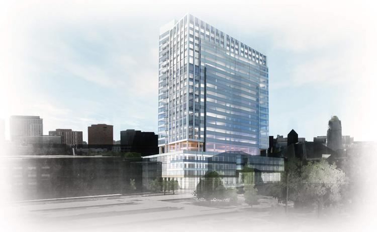 Renderings of proposed redevelopment of the shuttered Edward J. Sullivan Courthouse in East Cambridge by DivcoWest.