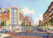 A third MGM casino rendering shows how the casino would front onto a city street in Springfield's downtown.