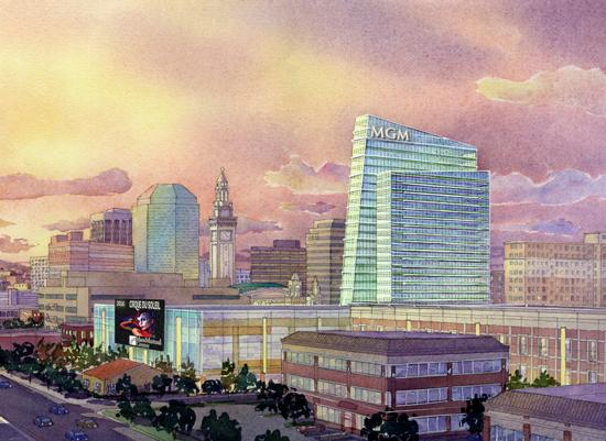 A rendering of the Western Mass. casino plan presented by MGM International. The plan may face a hurdle when Massachusetts casino regulators investigate the background of MGM's casino partners in Macao.