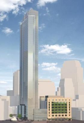Rendering of Millennium's plan for a tower over the former Filene's building