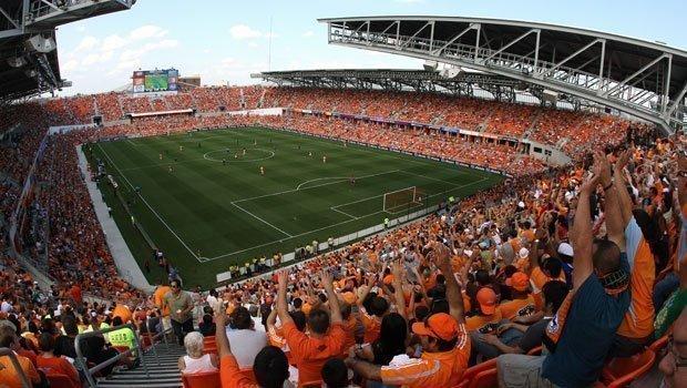 BBVA Stadium in Houston could be the model for a new Revolution venue in Somerville or Revere.