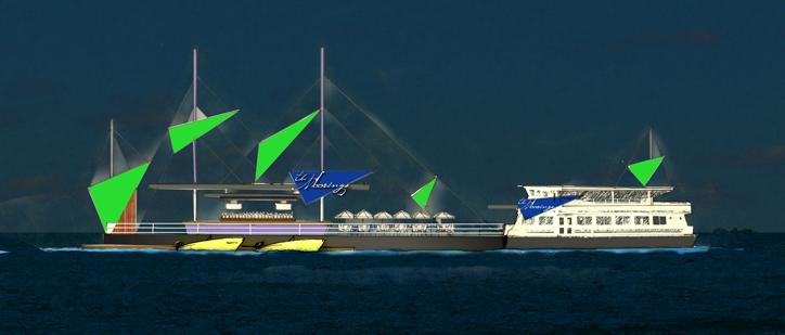 Yacht rock:Boston Harbor Cruises offered this artist's rendering of The Moorings, a floating restaurant the company plans to build on Boston Harbor.