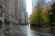 An empty Congress Street in Boston's Financial District.