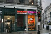 The Dunkin' Donuts on Summer Street was one of the few retailers open during the storm on Monday.