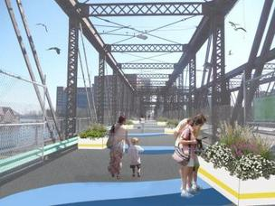 An artist rending of how the Northern Avenue Bridge will look with the addition of flowers.