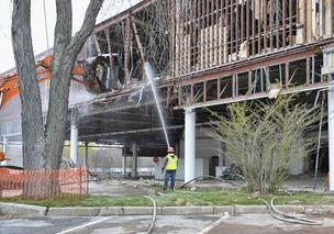 Demolition is underway at Macy's at Chestnut Hill Shopping Center in Newton. Click the link above the photo to see two renderings of new mall.
