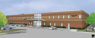 Rendering of the new Harvard Vanguard facility under construction in Concord, Mass.