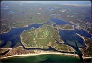 An aerial view of Oyster Harbors Island in Osterville.