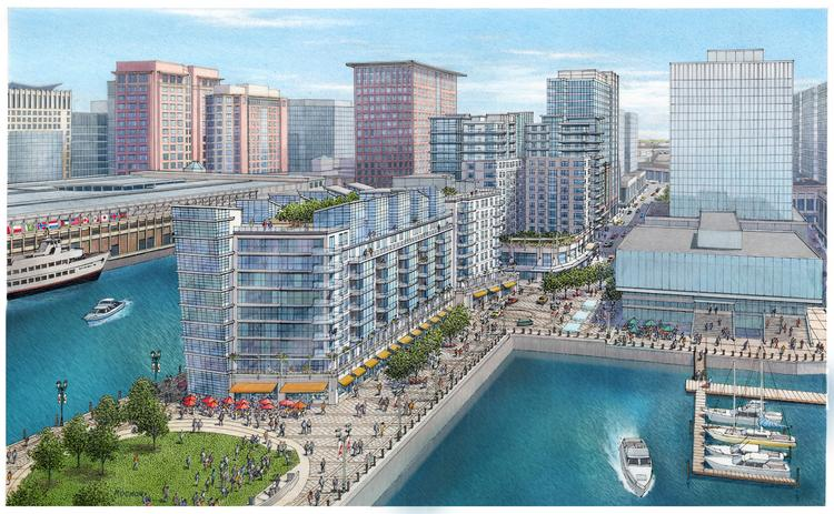Rendering of the Pier 4 redevelopment in Boston's Seaport District.