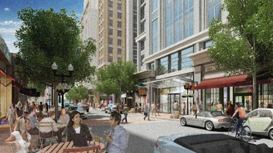 A rendering of the planned rehabilitation of Quincy's downtown. The planned $1.6 billion mixed-use project features open space as well as residential, retail and commercial components. The effort includes a roster of developers as well as public financing for infrastructure improvements.