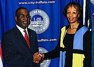 Mayor Byron Brwn and Ellen Grant, Buffalo's new deputy mayor