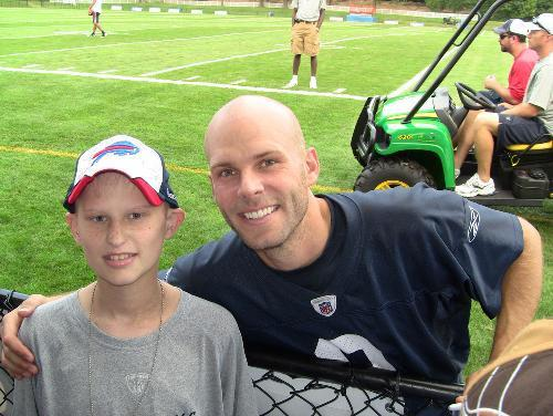 Then-Buffalo Bills punter Brian Moorman befriended Andrew Pawlak, a pediatric cancer patient who passed away in December 2011. Andrew is one of many kids whose families have been aided by Moorman's P.U.N.T. Foundation.