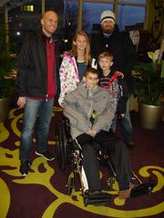Andrew Pawlak's final wish was to swim one last time. Brian Moorman, shown at left with his Buffalo Bills' teammate Ryan Fitzpatrick, made that possible by securing a penthouse suite at the Embassy Suites in Buffalo and reserving the pool so the family could enjoy a private swim. With Andrew are his siblings Claire and Nathan.