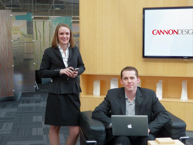 Danielle Forsyth and Christopher Whitcomb drive Cannon Design's social media efforts.