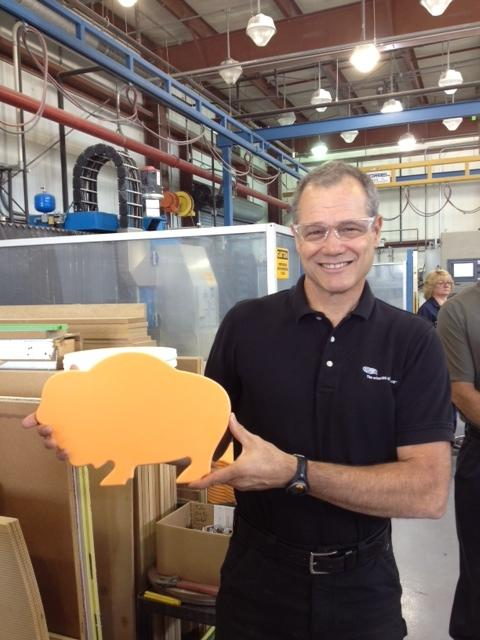 Rolf Weberg, Global R&D Manager with Dupont, proudly displays a Buffalo made of Corian. It will be used at Roswell Park Cancer Institute. Weberg calls Buffalo the Corian capital of the world.