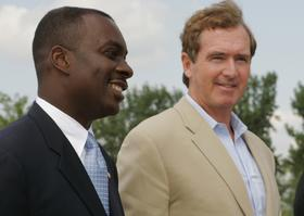 Mayor Byron Brown, left, and Rep. Brian Higgins advocate a change to Ohio Street linking downtown with the Outer Harbor.