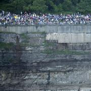 Crowds assembled near Table Rock on the Canadian side of Niagara Falls.