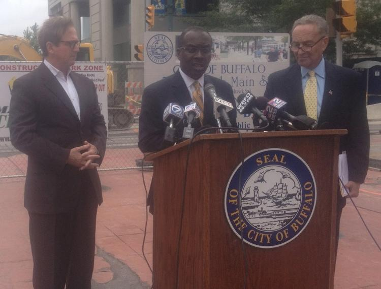 Rep. Brian Higgins, Mayor Byron Brown and Sen. Charles Schumer discuss the next phase of 'Cars Sharing Main Street.'