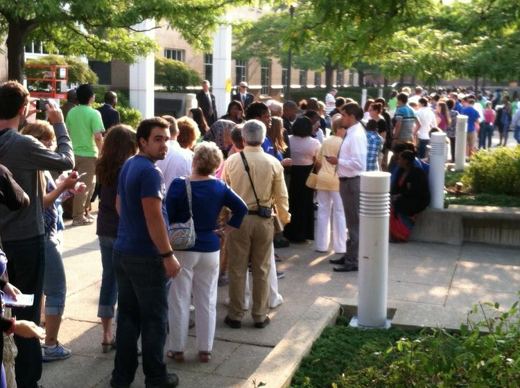 The line formed early to see President Barack Obama at UB.