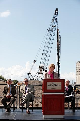 Seneca Nation officials, with CEO Cathy Walker at podium, discuss the expansion project of the Buffalo casino.