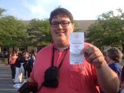 SUNY Buffalo State Steve Tentinger of Connecticut displays his ticket to be part of President Obama's visit.