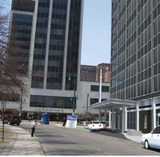 Rendering of plans for a renovated Tishman building.