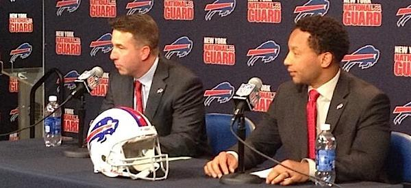 Bills' General Manager Doug Whaley, right, joined by team President Russ Brandon at introductory news conference.