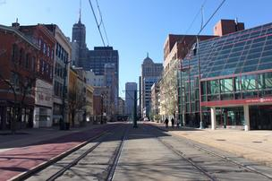 Looking south from Huron Street, the 500 Block of Main Street in Buffalo is an urban strip, with a mix of new developments and several vacant buildings – eyesores – that create an image problem for the central business district.