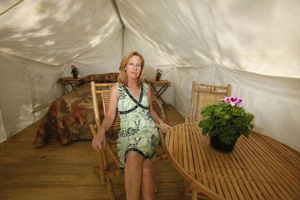 Pat Jensen's company, ConTENTment Camping, provides pre-set safari-style tents complete with beds and furniture at festival sites and partner sites, such  as Darien Lake  Theme Park.