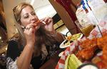 Travelers enjoy wings before lifting off from Buffalo