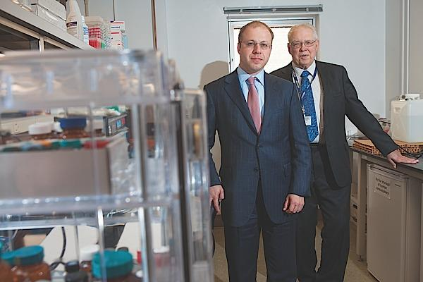 Yakov Kogan, chief executive officer at Cleveland BioLabs, and Dr. David Hohn, on right, the newly named chairman of the board. They say the company is well-positioned to take the next step.