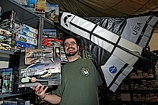 Justen Hanna is ready for sales to take off at Section 8 Hobbies in South Buffalo, where he sells kites, radio-controlled helicopters and model kits.