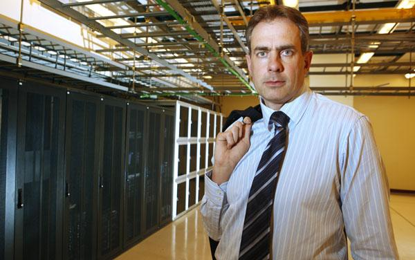 """CentriLogic Inc. President and CEO Robert Offley stands inside the Buffalo data center his company opened at 350 Main St. in 2009. He said CentriLogic, which operates data centers in Canada and Rochester, chose Western New York because """"there's an infrastructure in place, and you can access some of the best power in North America."""""""