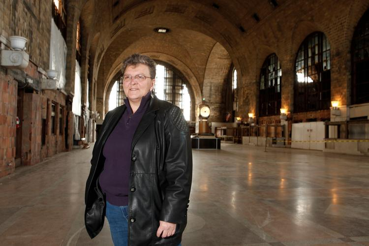 Marilyn Rodgers of Central Terminal Restoration Corp. says bringing back the luster of the terrazzo floors found throughout the building is just one element of the massive renovation.