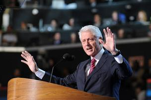 Former President Bill Clinton spoke to a packed Time Warner Cable Arena on Wednesday night — and some folks who were temporarily locked out of the arena almost missed the speech.